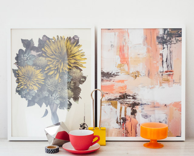 floral collage and pink abstract prints from desenio