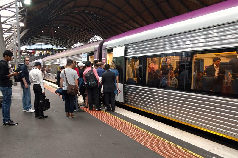 Boarding a Geelong train, evening peak