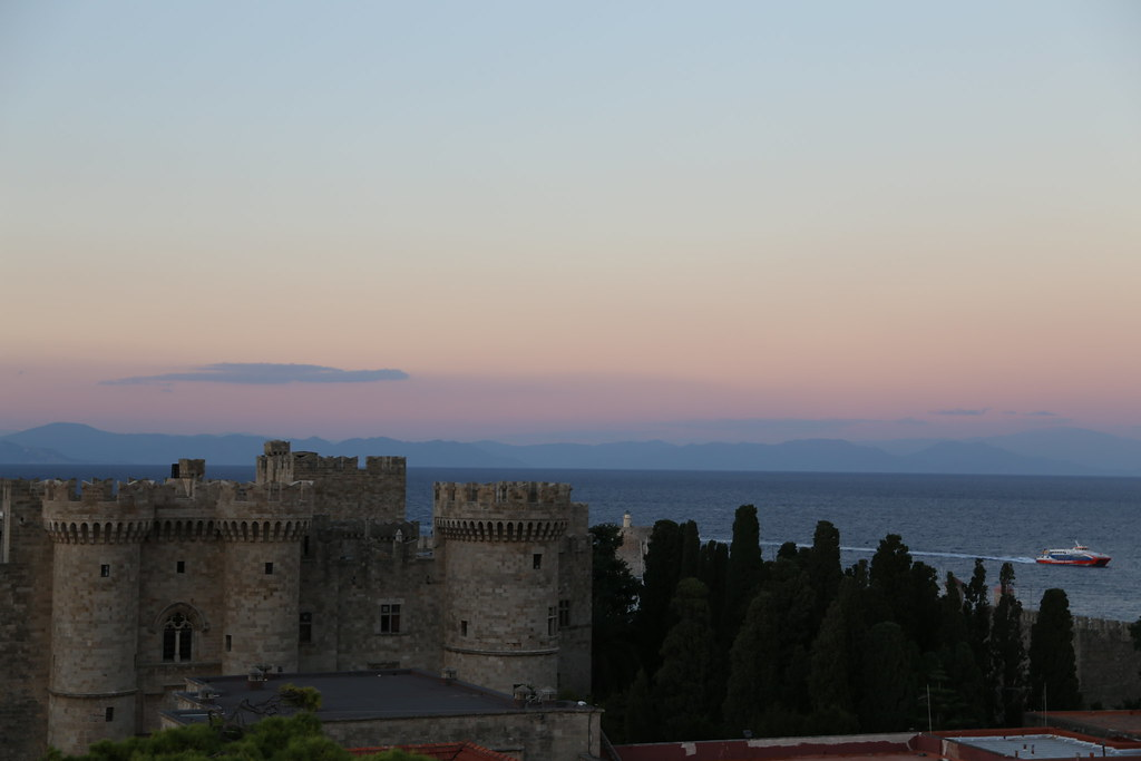 Rhodes Old Town at sunset