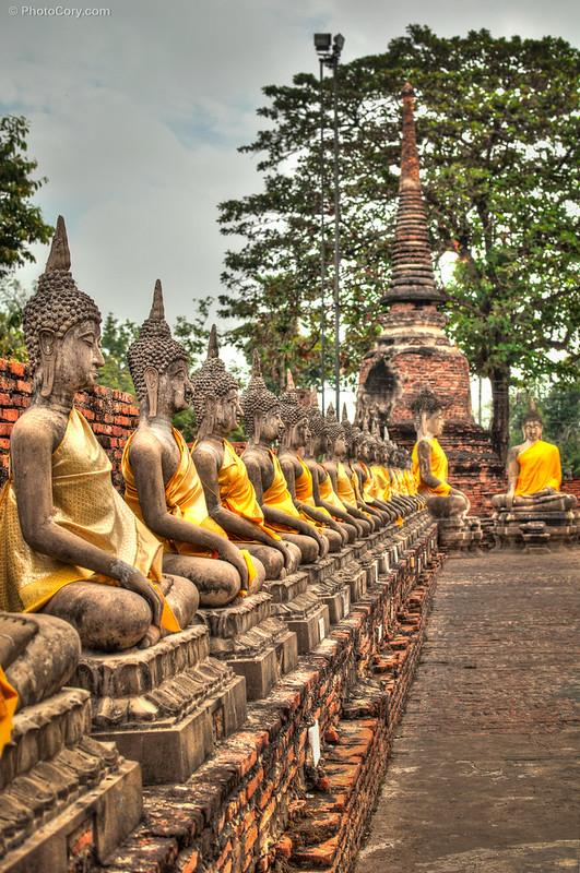 Many Buddha statues at Wat Yai Chai Mongkhon