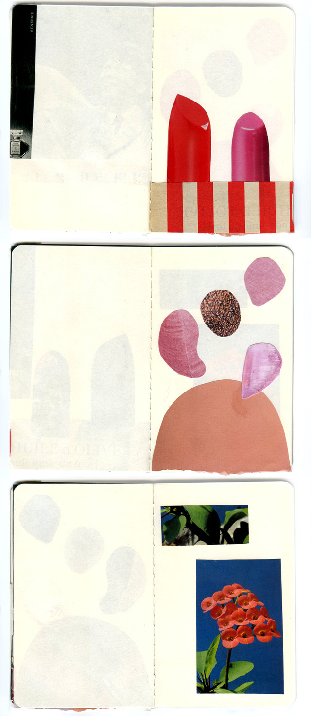 collage sketchbook pages 13-15 by laura redburn