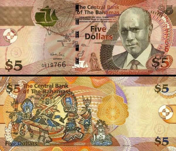 5 bahamských dolárov Bahamy 2013, P72A