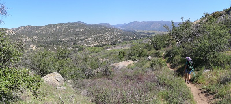 Panorama view as we descend toward Cottonwood Creek on the PCT, with the Laguna Mountains on the right