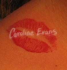 Lip Print Tattoo On Neck