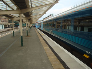 Train of Arriva Trains Wales mark 3 coaches at Chester station
