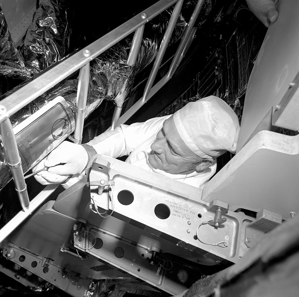 Apollo 16 Moon Plaque Installation Working Inside The