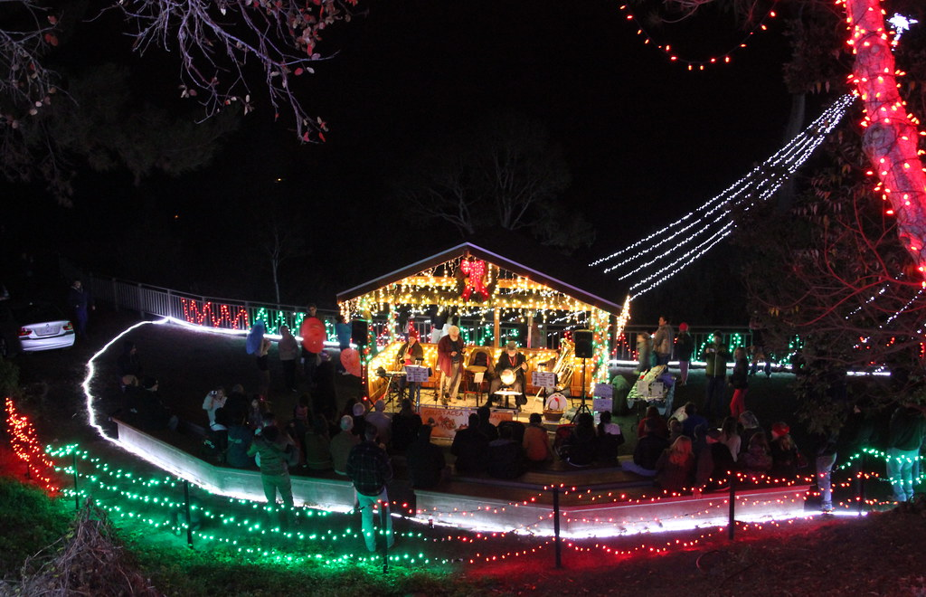 live music bandstand at the cambria christmas market in cambria california by trail trekker
