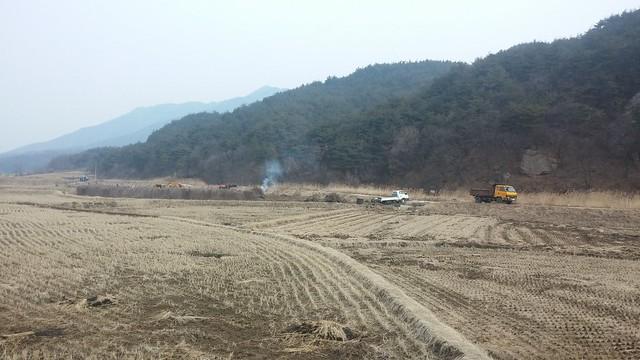 오미자밭 철거작업