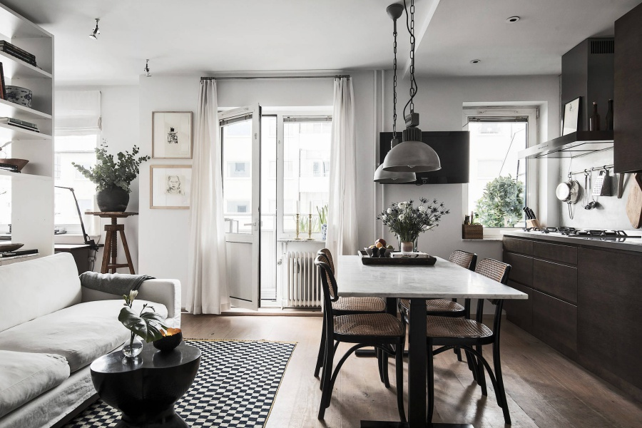 Scandinavian Home with a Dark Mood