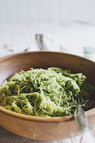 spaghetti squash with spinach pesto | by Hapaway