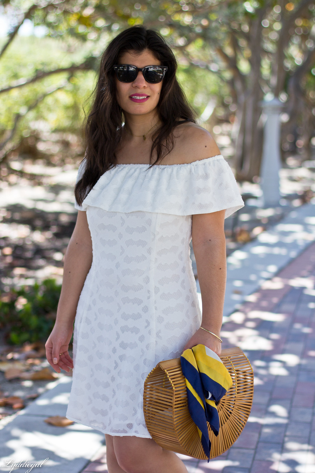 white off the shoulder dress, bamboo half moon purse, jeweled sandals-2.jpg