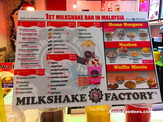 Milkshake Factory NU Sentral - Menu