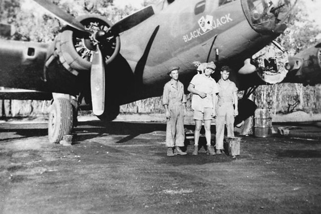 B-17 Ground Crewmen with Dog