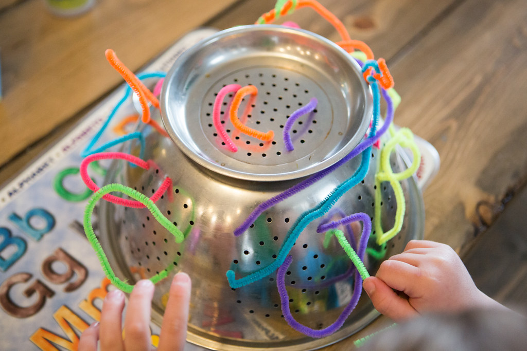 Pipe Cleaners in a Colander