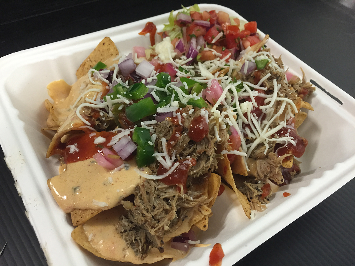 A plate of barbecue nachos.