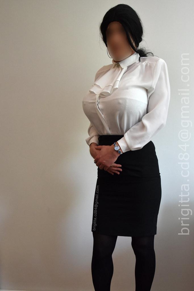 White Blouse With Detachable Jabot Black Office Skirt Br