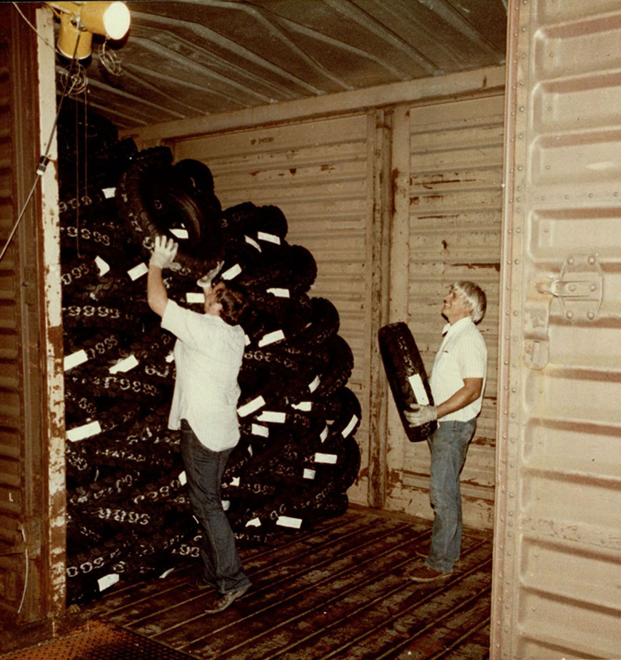 Loading tires at the General Tire Plant, Waco, Texas, 1983
