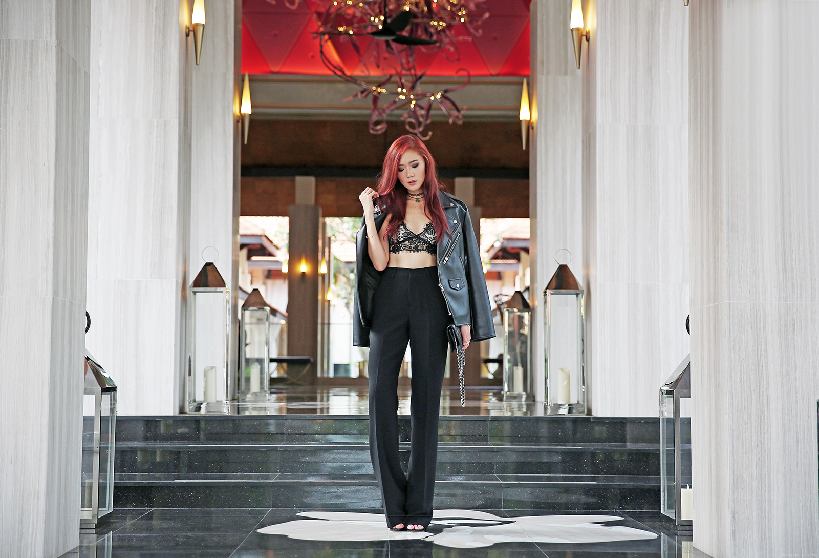 Camille Co in Modekungen leather jacket, hyphen the label bralet, zara trousers - itscamilleco.com