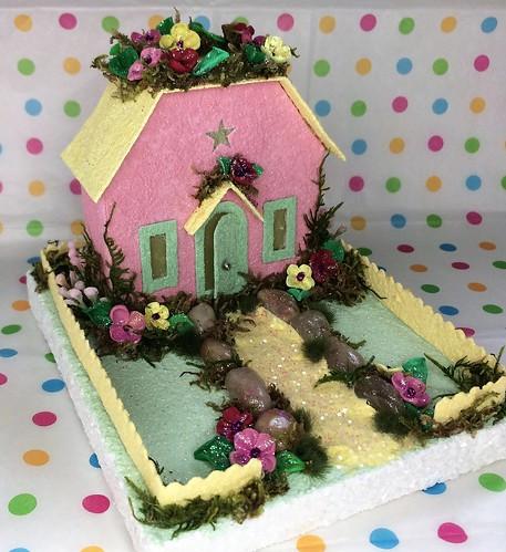 Pink springtime Putz cottage