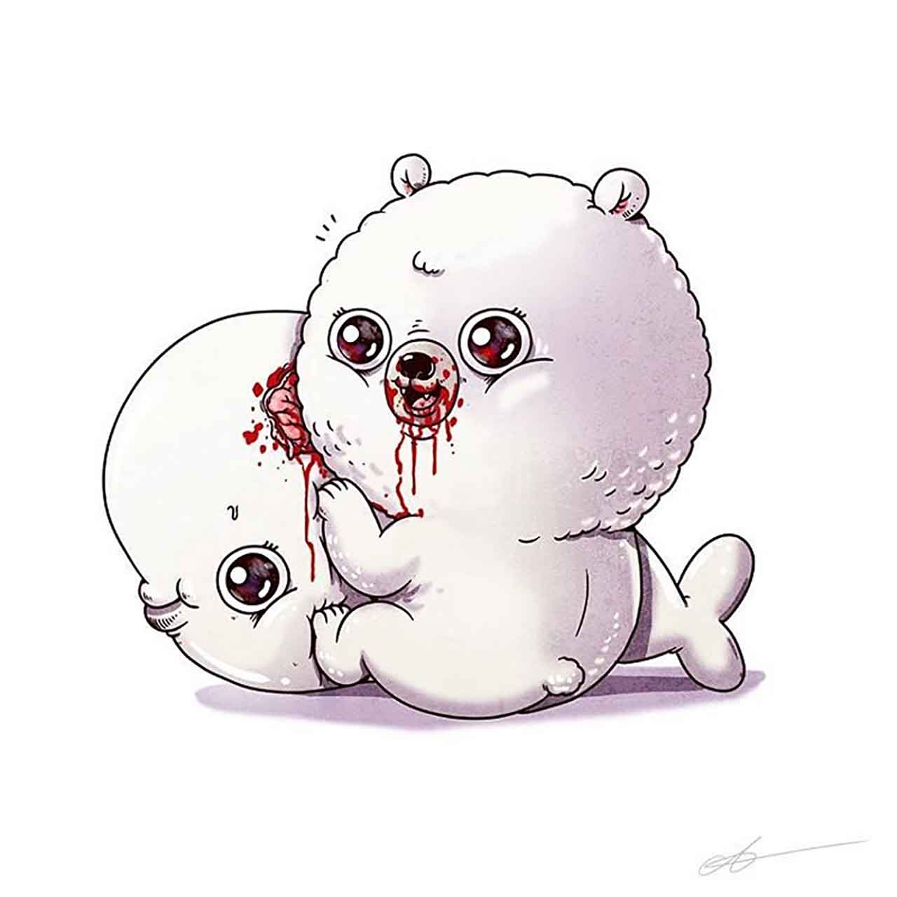 "Artist Creates Extremely Adorable ""Predator & Prey"" Illustrations #23: Polar Bear & Beluga Whale"