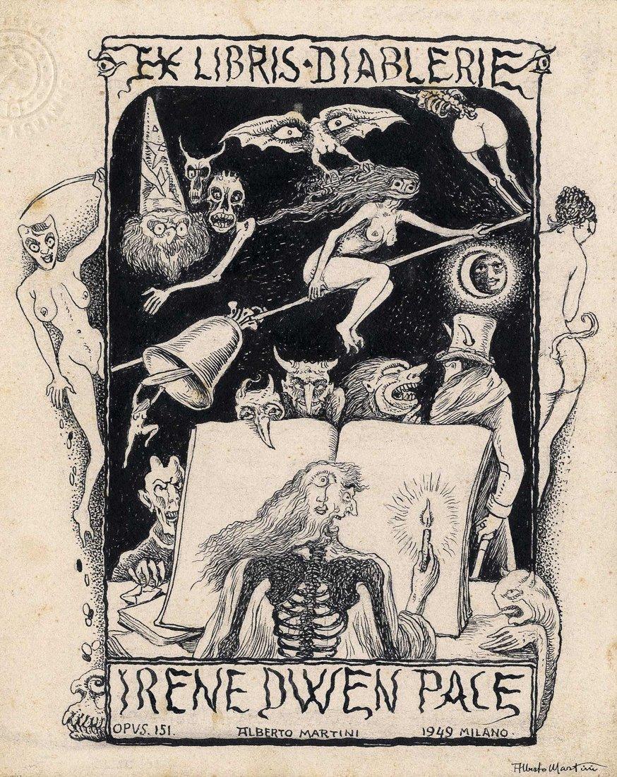 Alberto Martini - Ex libris diablerie for Irene Dwen Pace, 1949