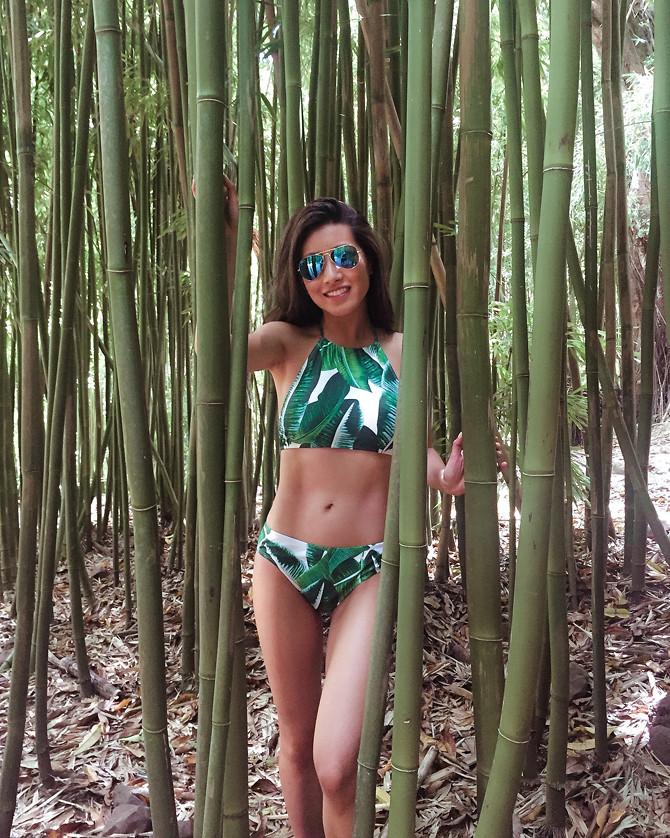 road to hana hiking bamboo forest palm leaf print bikini swimsuit