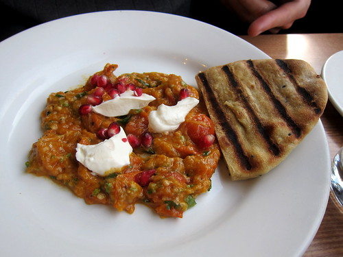 aubergine and flatbread