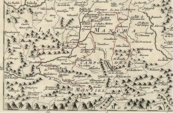 Mapa de Tomás López con la ruta del Quijote que le encargó el rey Carlos III