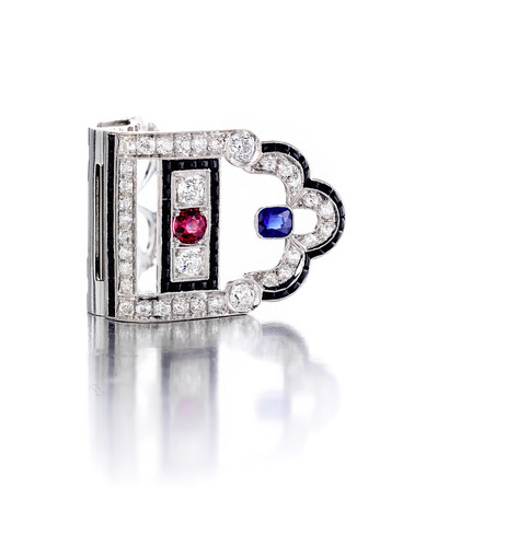 An art deco diamond, sapphire, spinel and black onyx dress clip  17