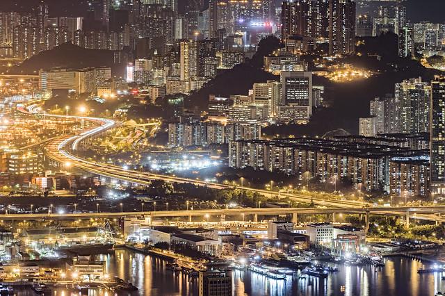 Night at Kwai Chung, Hong Kong