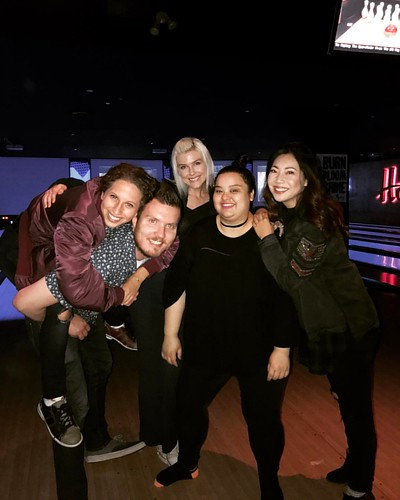 Bowled over for @itstrinad's 21st bday at Lucky Strike, if not for her Treasure Lake would not exist. TY for all you are and all that you do, Trina, we love you!!! 🎳🎳🎳🎂🍰🍭🍻 #improv #improvteam #treasurel | by cindychu