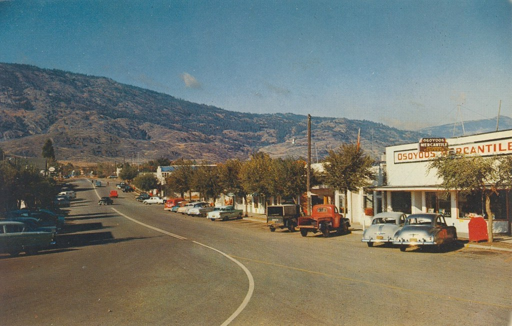 postcard osoyoos bc 1958 the business section in. Black Bedroom Furniture Sets. Home Design Ideas