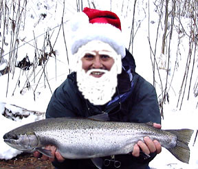 Santa with a nice steelhead caught in pulaski ny with drif for Salmon river ny fishing map