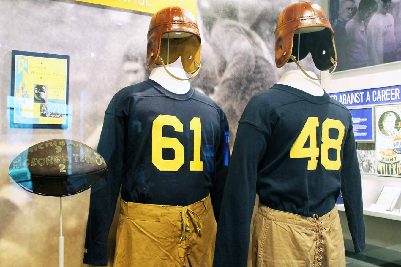 Vintage University of Michigan Football Uniforms at the Gerald R. Ford Presidential Museum /// Gerald R. Ford Presidential Museum: Legacy Of An Unelected President - (via Wading in Big Shoes)