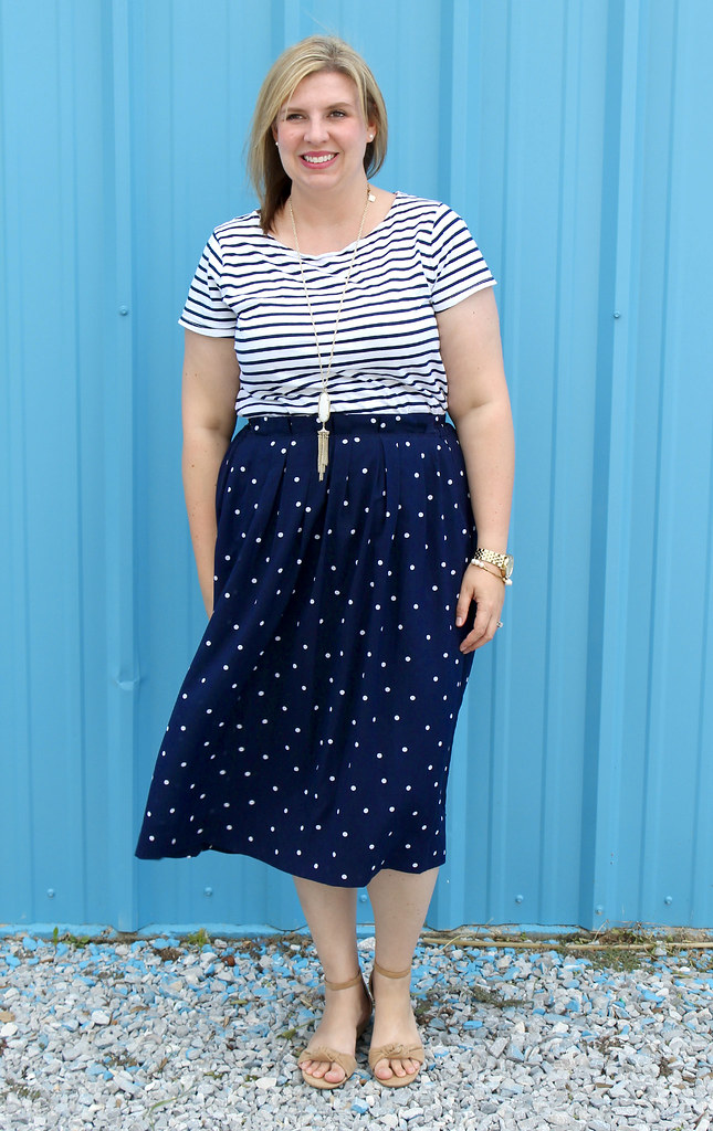 polka dot midi and breton tee 6