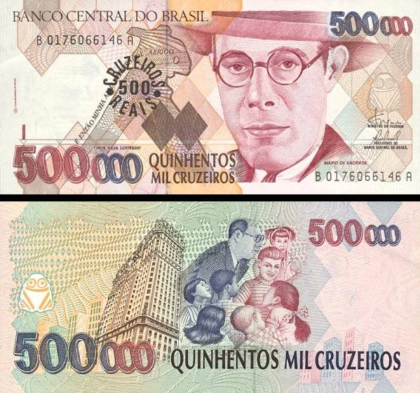 500 Cruzeiros Reias Brazília 1993, pretlač P239b