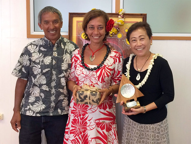 Superintendent in Raiatea with Hōkūle'a