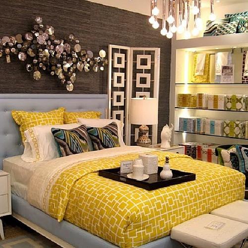 Girls Twin Bedroom With Bird Wallpaper: Atlanta Living! #yellow #bed #bedroom #bedding #turquoise