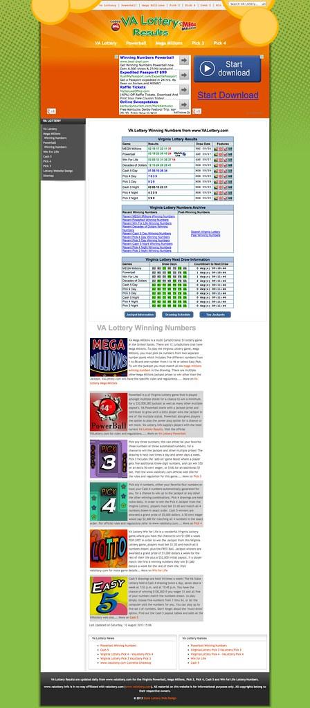 Va Lottery Pick 3 Past Winning Numbers