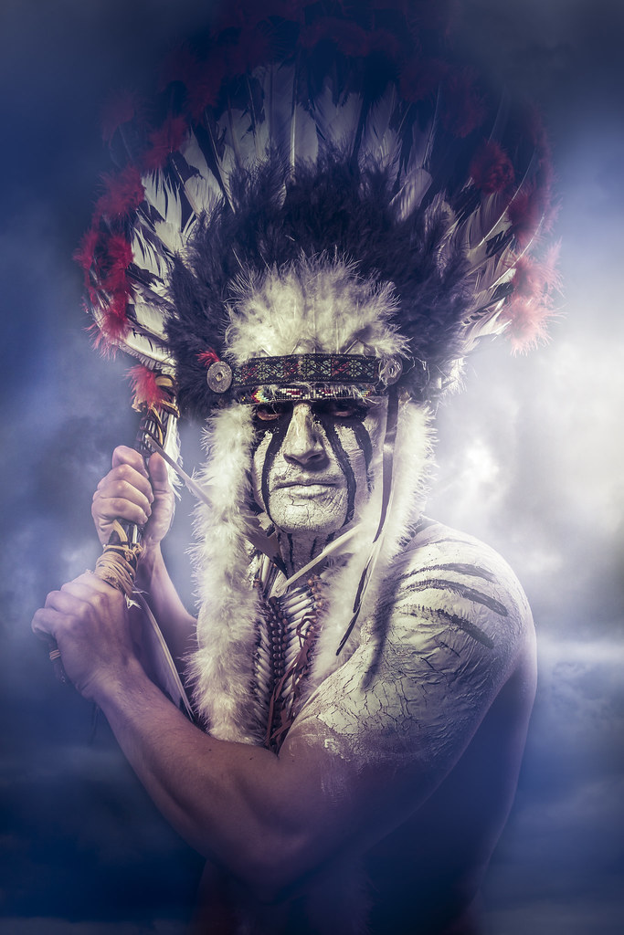 American Indian warrior, chief of the tribe. man with feat ...