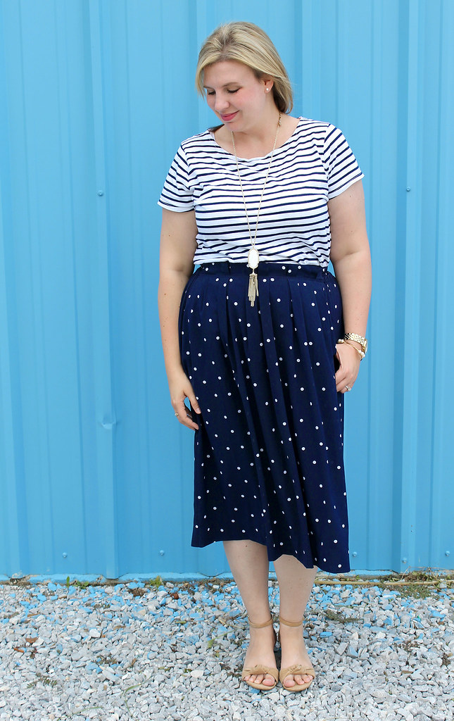 polka dot midi and breton tee 2