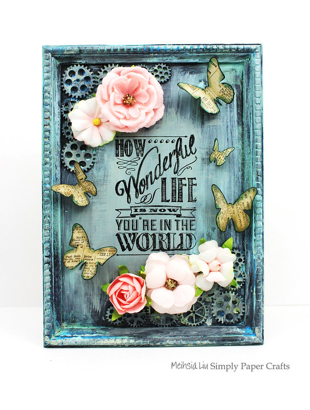 Meihsia Liu Simply Paper Crafts Mixed Media Frame Simon Says Stamp Monday Challenge Tim Holtz Prima Flowers 1