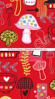 Doodle Kitchen Icons Pattern in red, partial details | by Flora Chang | Happy Doodle Land