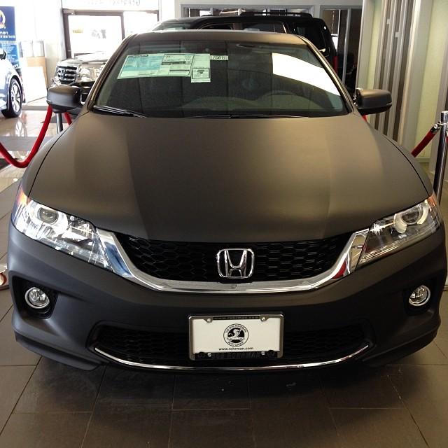 2014 honda accord coupe wrapped in matte black honda hon for 2014 honda accord black