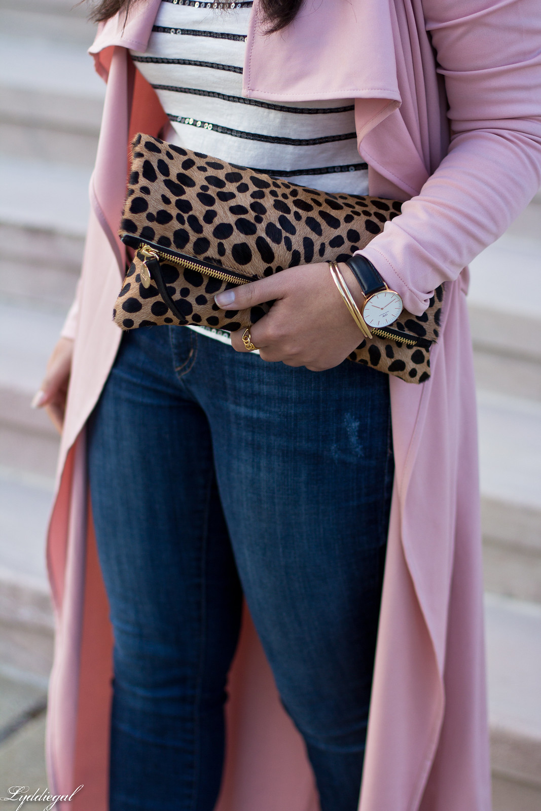 blush draped trench coat, striped tee, leopard clutch-9.jpg