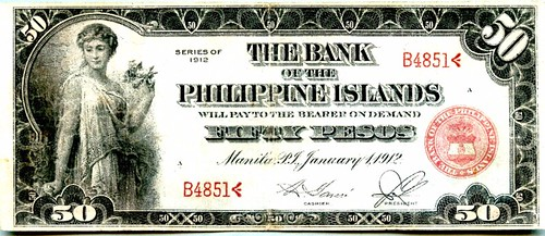 1912 series Bank of Philippines 50 Pesos banknote