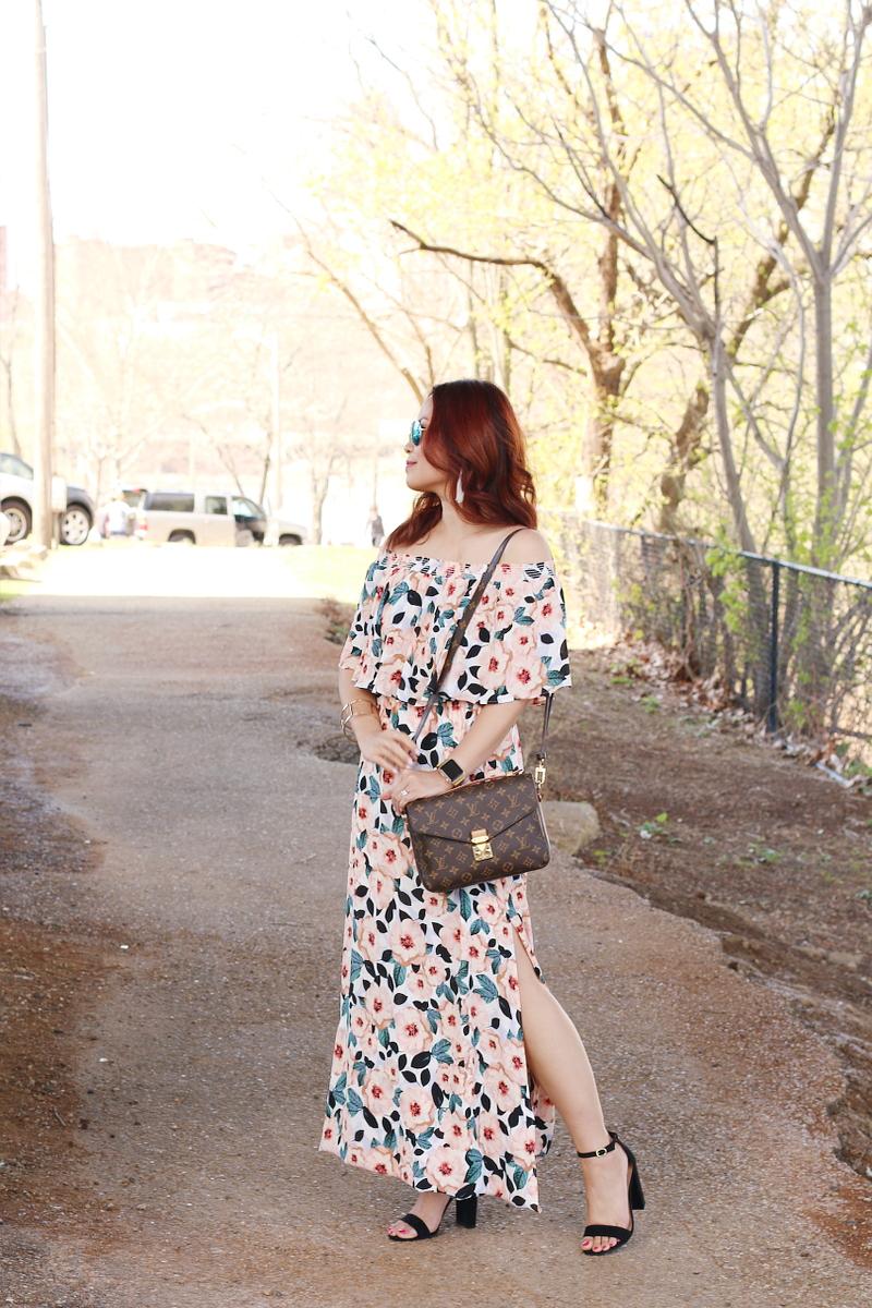 floral-off-shoulder-dress-black-suede-sandals-lv-bag-3