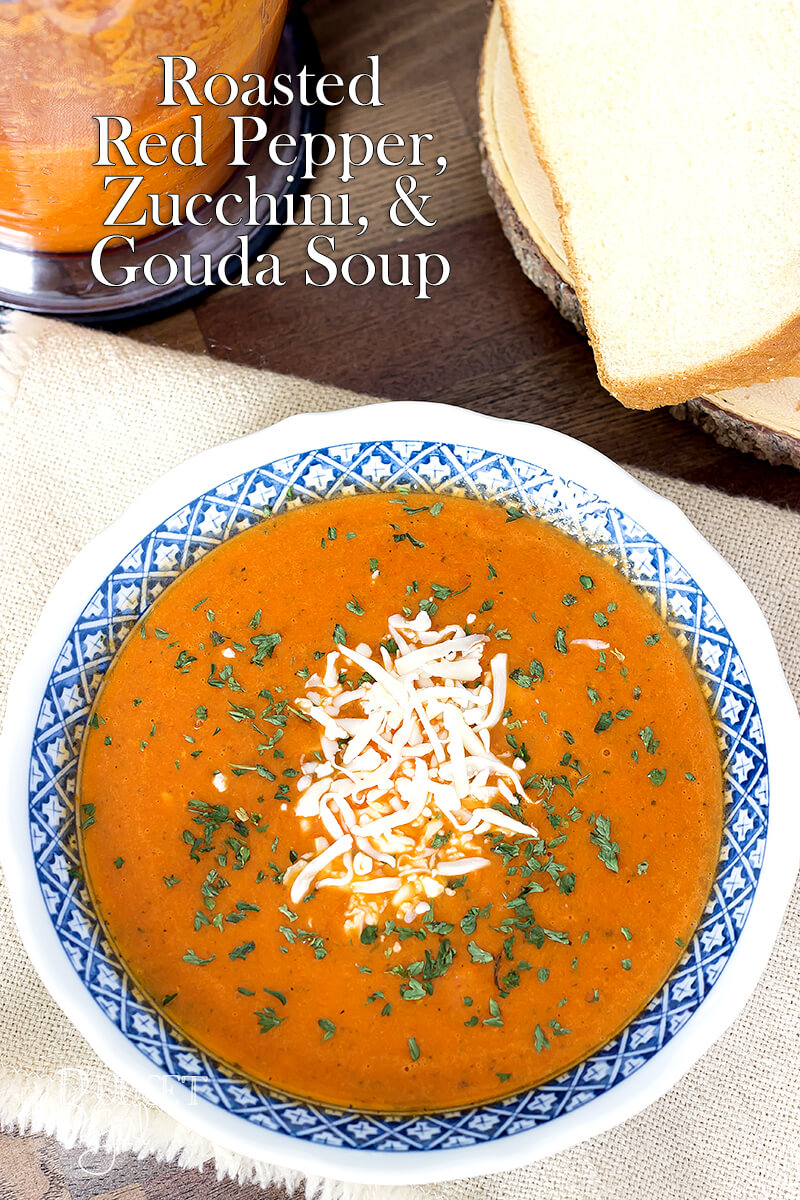 Roasted Red Pepper and Gouda Soup with Zucchini