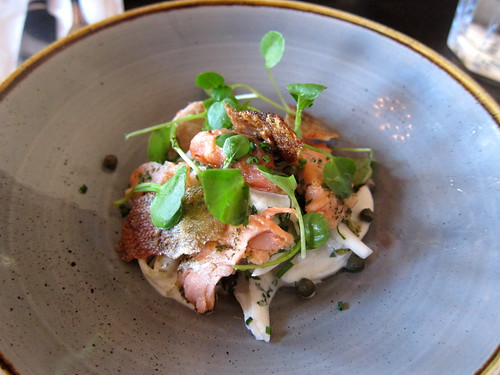 home smoked trout, fennel + mint slaw, capers