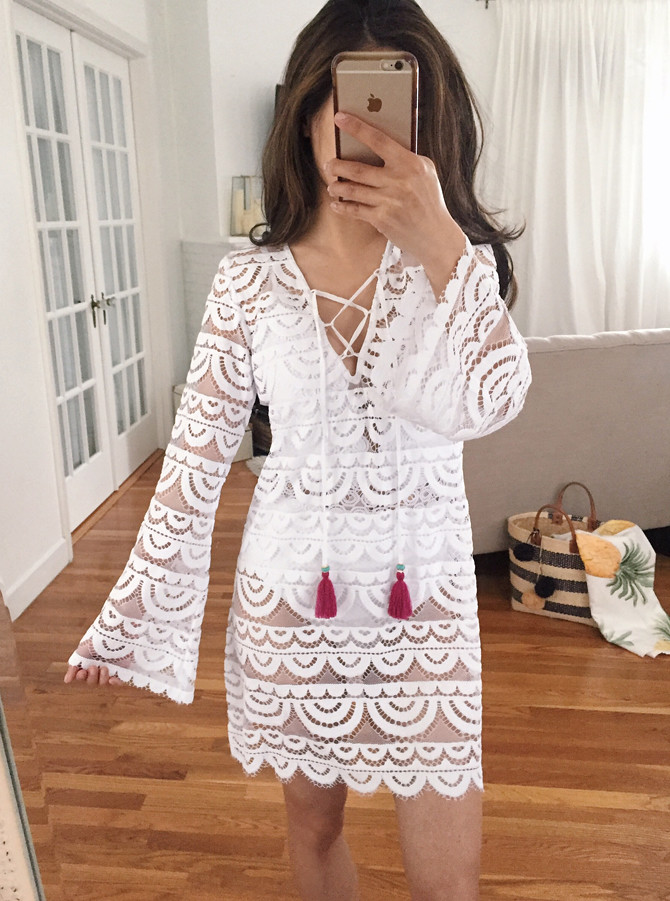 white lace swim beach coverup tunic dress petite fashion
